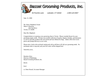 Business Letter Model Format