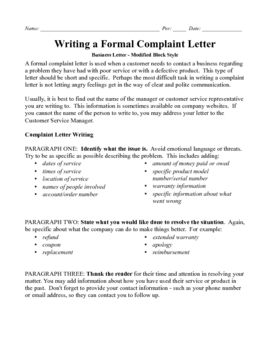 business letter modified block complaint point rubric
