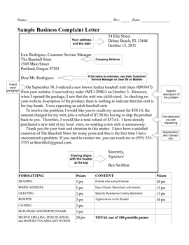 Business Letter Modified Block Complaint With 100 Point