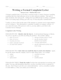 Business Letter - Modified Block Complaint with 100 point Rubric