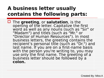 Business Letter Notes