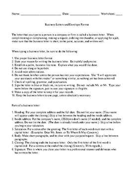 Business Letter Project or In-Class Assessment