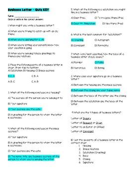 Business Letter Quiz