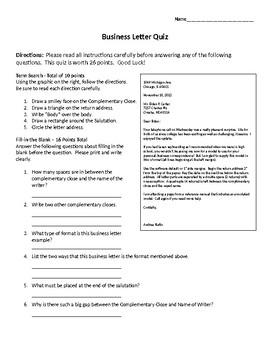 Business Letter Quiz - Block Format