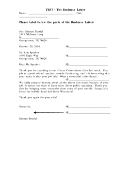 Business Letter Test
