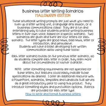 Business Letter Writing Scenarios and Prompts - HALLOWEEN Theme - Common Core