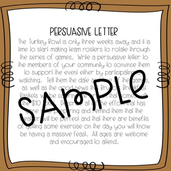 Business Letter Writing Scenarios and Prompts - THANKSGIVING Theme - Common Core