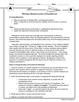 Business Letter of Compliment:  No-Prep Informative Writing Project