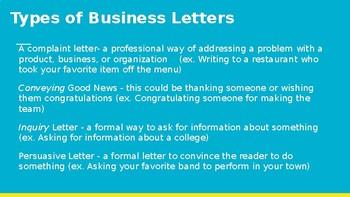 Business Letters Unit [Complaint, Good News, and Persuasive Letters]