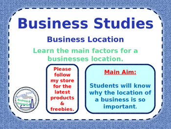 Business Location - Factors of Locating a Business - Map T