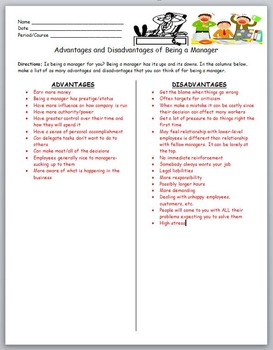 Business Management- Advantages and Disadvantages of Being a Manager