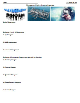Business Management CTE Guided Notes/Graphic Organizer w/Answer Key