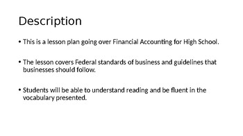 Business Management Lesson Plan - Accounting vocabulary and multiple assessments