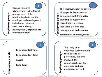 Business Management Quiz Cards - Employing People / Staffing a Business