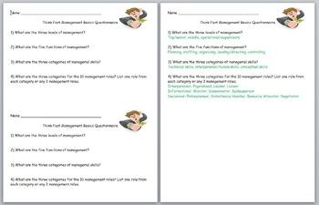 Business Management- Think Fast Management Basics Questionnaire