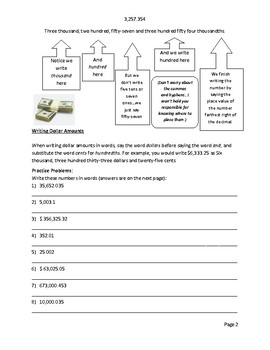 Business Math - Place Value, Writing Numbers, and Rounding