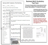 Business Math Vocabulary Exams Test Pack 1