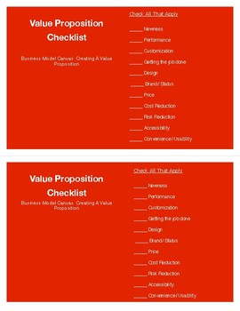 Business Model Canvas- Value Proposition Checklist