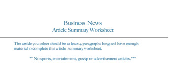 Business  News  Article Summary Worksheet