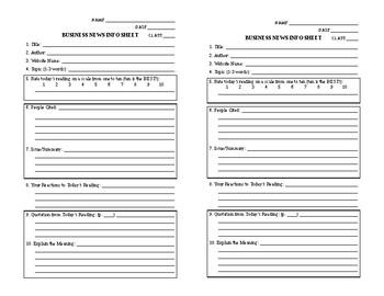 Business News Info Sheets