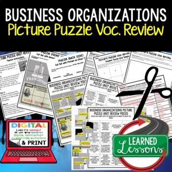 Business Organization Picture Puzzle, Test Prep, Unit Review, Study Guide