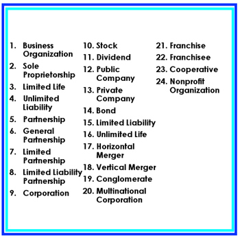 Business Organizations Word Wall Pennants (Economics and Free Enterprise)