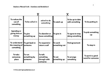 Business Phrasal Verb-Dominoes and Worksheet