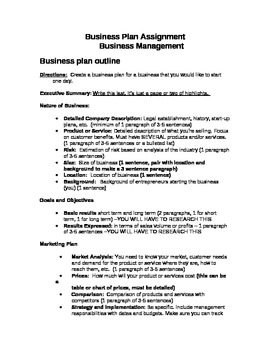 Business Plan Assignment