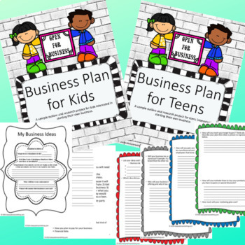 Business Plan Bundle- 2 Business Plan Research Guides for Grades 3-6 and 6-12