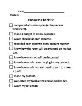 business plan checklist by matthew jenney teachers pay teachers