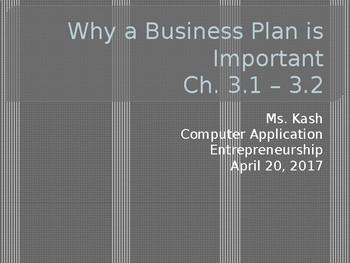 Business Plan Importance - Entrepreneurship Ch. 3