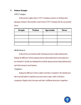 Business Plan Outline with Detailed Descriptions for each Section
