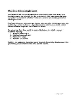 Business Plan Project for high school or college