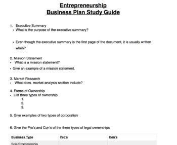 Business Plan Study  Guide - Entrepreneurship