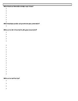 Business Presentations Worksheet
