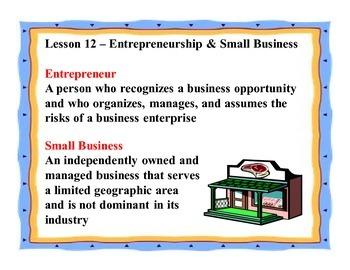 Business Principles - Lesson 12: Entrepreneurship & Small Business