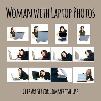 Business Woman with Laptop Digital Photos / Photograph Clip Art Set