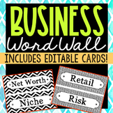 96 Business Vocabulary Word Wall Terms with EDITABLE Cards