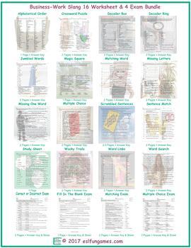 Business-Work Slang 16 Worksheet- 4 Exam Bundle