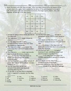 Business-Work Slang Magic Square Worksheet