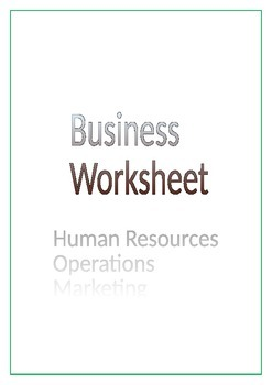 Business Worksheet Focus on Human Resources, Operations an