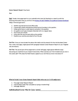 Business Writing: Career Research Report