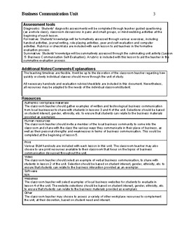 Business Writing Unit for Secondary Students