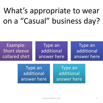 Business and Career Skills - Business Dress Lesson Activity