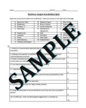 Business and Career Skills - Common Business Terms Activity and Vocab Quiz