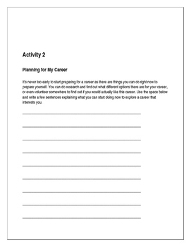 Business and Career Skills - Planning For Your Career Activity