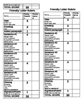 Business and Friendly Letter Rubrics