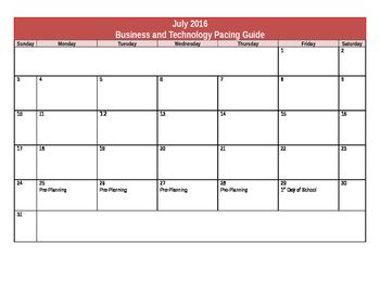 Business and Technology Course Pacing Guide