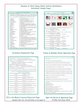 Business or Work Slang Combo Activity Worksheets