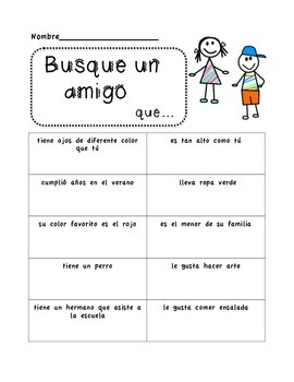 Busque un Amigo - Find a Friend - Scavenger Hunt {in Spanish & English}
